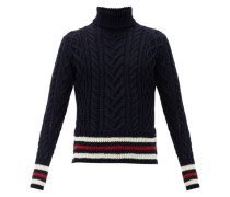 Striped Cable-knit Wool-blend Sweater