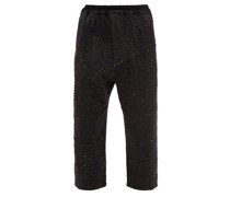 Gerald Cropped Upcycled-wool And Cotton Trousers