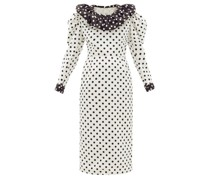 Puff-sleeve Polka-dot Satin Dress