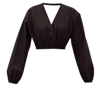 Open-back Cropped Cotton Blouse