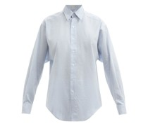 Striped Oversized Silk-blend Poplin Shirt