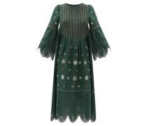 Jacqueline Broderie-anglaise Linen Midi Dress