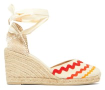 Craby 80 Striped Canvas And Jute Platform Wedges