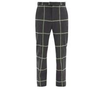 Judah Windowpane-check Wool-blend Trousers