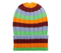 Bunny Echo Striped Ribbed-cashmere Beanie Hat