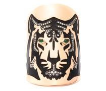 Tiger Diamond, Tsavorite & 18kt Gold Shield Ring