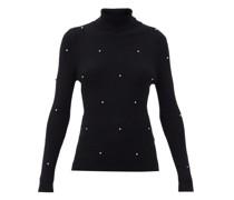 Crystal-embellished Ribbed Merino-wool Sweater