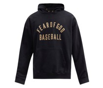 Baseball Flocked-logo Cotton Hooded Sweatshirt