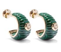 Topaz, Malachite & 9kt Hoop Earrings