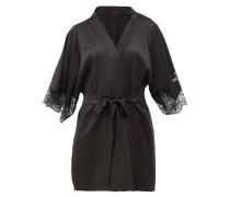 Lace-insert Silk-blend Robe