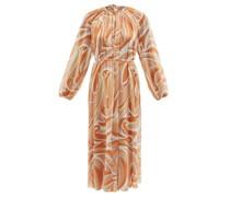 Belted Vortici-print Chiffon Dress