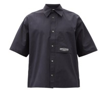 Logo-print Cotton-poplin Short-sleeved Shirt
