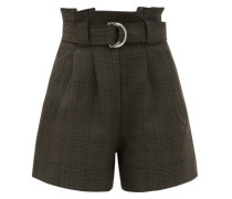 Prince Of Wales-check Belted Shorts