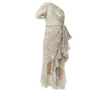 One-shoulder Floral-print Silk Midi Dress