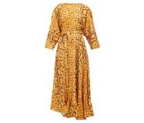 Claudia Snake-print Midi Dress
