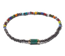 Malachite, Hematite & 14kt Gold Beaded Bracelet