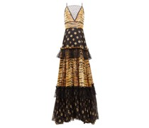 Mesh-insert Zebra Polka-dot Fil-coupé Tiered Gown