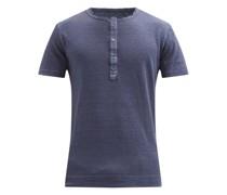 Rolled-edge Linen-jersey Henley Shirt