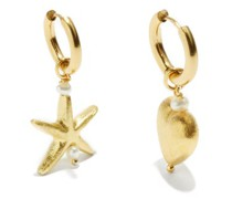 Mismatched Charm 24kt Gold-plated Earring Set