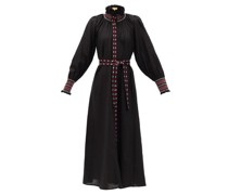 Alice High-neck Embroidered Linen Dress