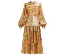 Abstract-print Silk-blend Lamé Chiffon Midi Dress