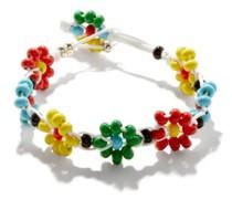 Flower Beaded Enamel & Sterling-silver Bracelet