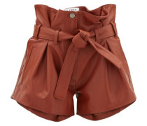 Pleated High-rise Leather Shorts