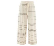 Striped Alpaca-blend Wide-leg Trousers