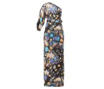 Celestial Floral-print One-shoulder Satin Gown