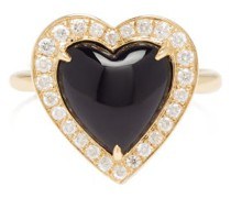 Black Heart Diamond, Onyx & 14kt-gold Ring