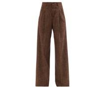 Pleated Wide-leg Herringbone Trousers