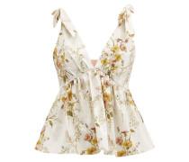 Tie-shoulder Floral-print Cotton-blend Poplin Top