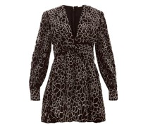 Malenia Floral-beaded Ruched-front Velvet Dress