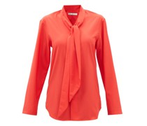 Pussy-bow Wool-crepe Shirt