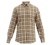 Checked Button-down Collar Cotton Shirt