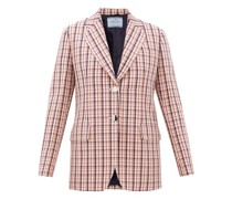 Single-breasted Checked Wool-twill Jacket