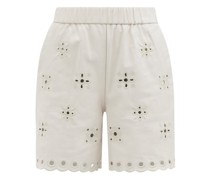 Cutout-embroidered Leather Shorts