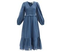 Hattie Balloon-sleeve Shirred Ramie Midi Dress