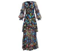 Iridescent Floral-print Silk-blend Dress
