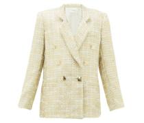 Double-breasted Metallic-tweed Suit Jacket