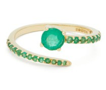 Grass Seed Emerald & 18kt Gold Ring