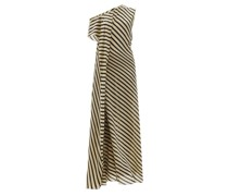 Acacia One-shoulder Striped Silk-crepe Dress