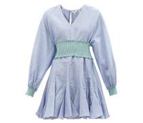 Ella Flared Striped Cotton-blend Hopsack Dress