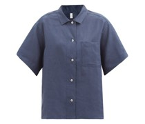 Patch-pocket Linen Pyjama Shirt