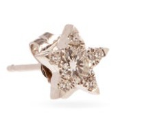 Star Medium Diamond & 18kt Gold Single Earring