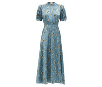 Tracy Puff-sleeve Floral-print Silk-crepe Dress