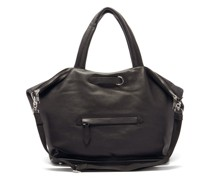 Four-stitched Cracked-leather Weekender Bag