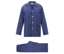 Lingfield Jacquard-stripe Cotton Pyjamas