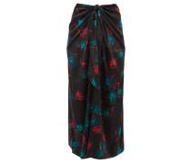 Floral-print Tie-front Silk-blend Midi Skirt