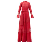 Lace-panelled Tiered Chiffon Gown